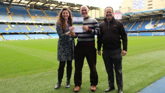 Pictured (L-R): Chelsea Foundation further education manager Louise Marriott; Dean Houlahan and course tutor Juan Velenzuela
