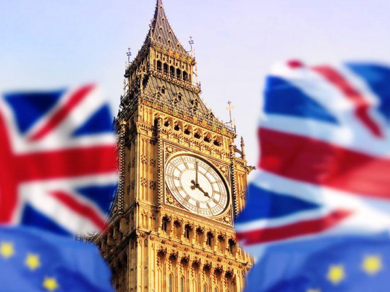image: big ben, eu and uk flags