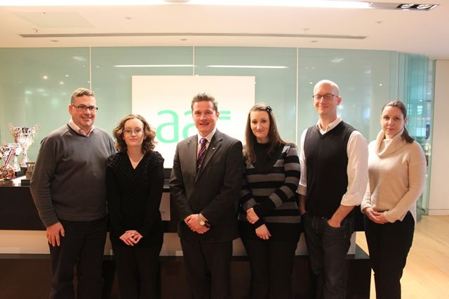 Photo of AAT Director of Marketing Andrew Williamson, winner Amy Scott, tutor from Premier Training Nick Craggs, second prize winner Louise Ball, third prize winner Mat Elliott and AAT Student Recruitment Manager Ceri Harper.