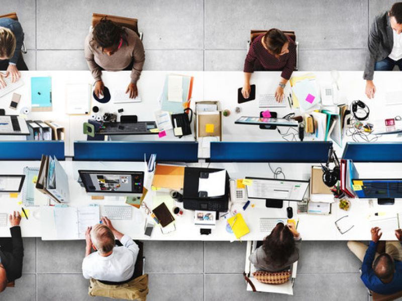 image: view from above of workers at desks